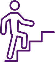icon of person walking up stairs